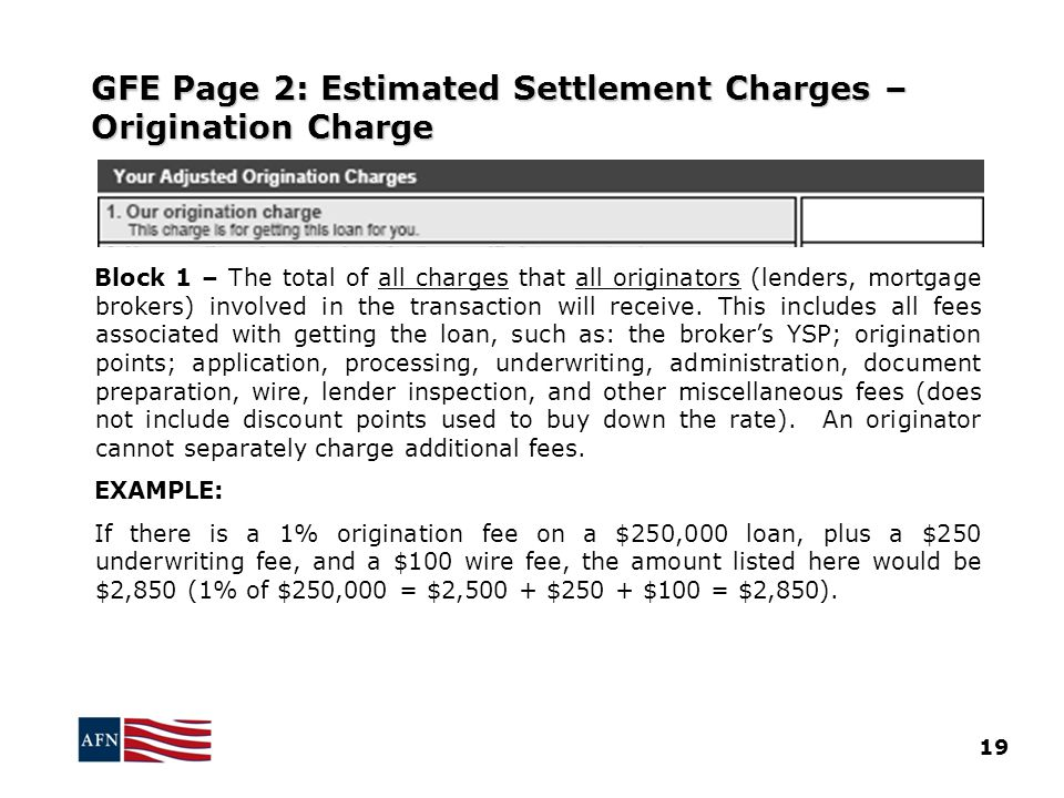 GFE Page 2: Estimated Settlement Charges – Origination Charge