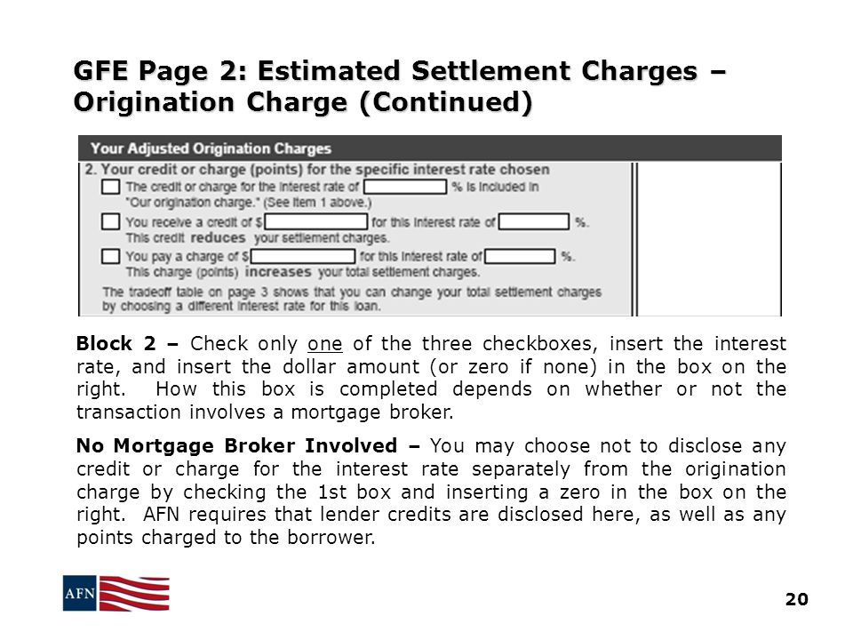 GFE Page 2: Estimated Settlement Charges – Origination Charge (Continued)