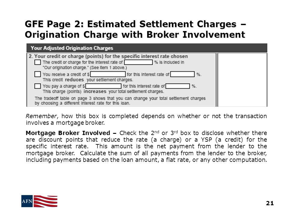 GFE Page 2: Estimated Settlement Charges – Origination Charge with Broker Involvement