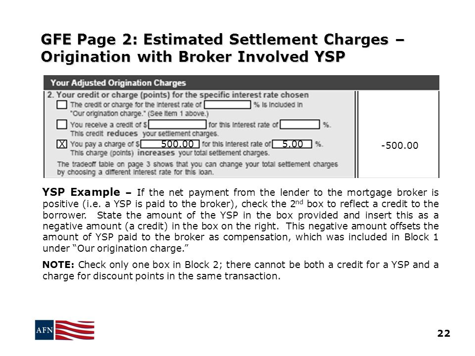 GFE Page 2: Estimated Settlement Charges – Origination with Broker Involved YSP