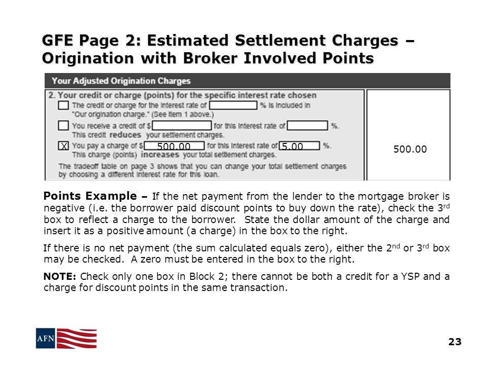 GFE Page 2: Estimated Settlement Charges – Origination with Broker Involved Points