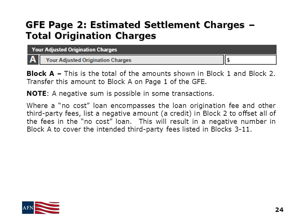 GFE Page 2: Estimated Settlement Charges – Total Origination Charges