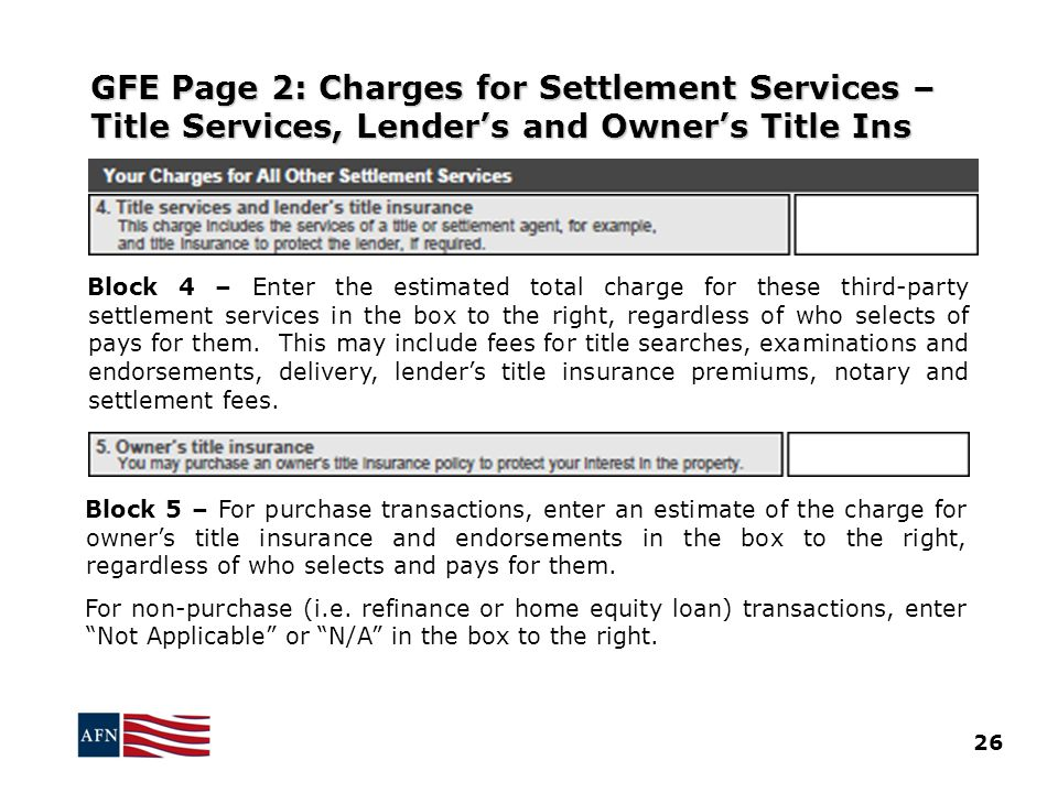 GFE Page 2: Charges for Settlement Services – Title Services, Lender's and Owner's Title Ins