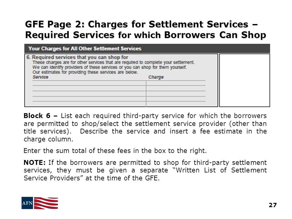 GFE Page 2: Charges for Settlement Services – Required Services for which Borrowers Can Shop