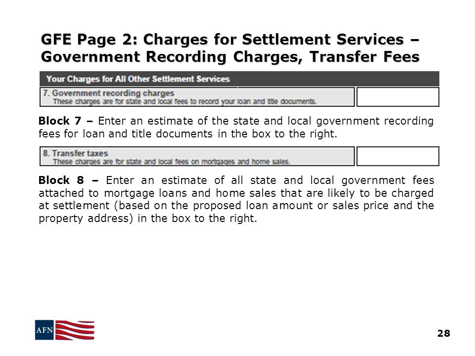 GFE Page 2: Charges for Settlement Services – Government Recording Charges, Transfer Fees