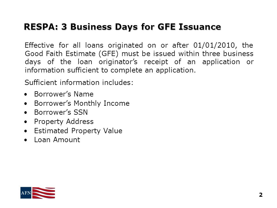 RESPA: 3 Business Days for GFE Issuance