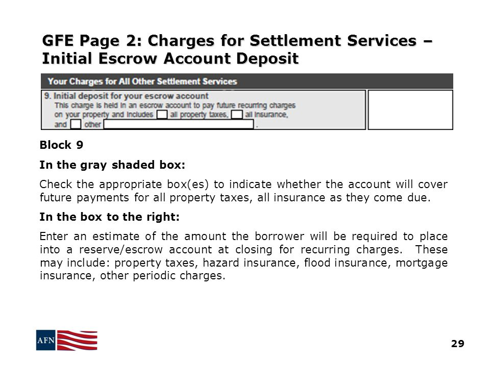 GFE Page 2: Charges for Settlement Services – Initial Escrow Account Deposit