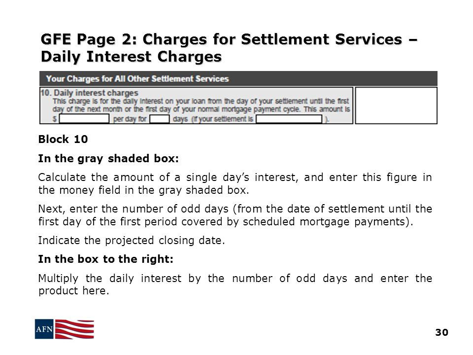 GFE Page 2: Charges for Settlement Services – Daily Interest Charges