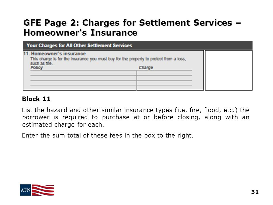 GFE Page 2: Charges for Settlement Services – Homeowner's Insurance