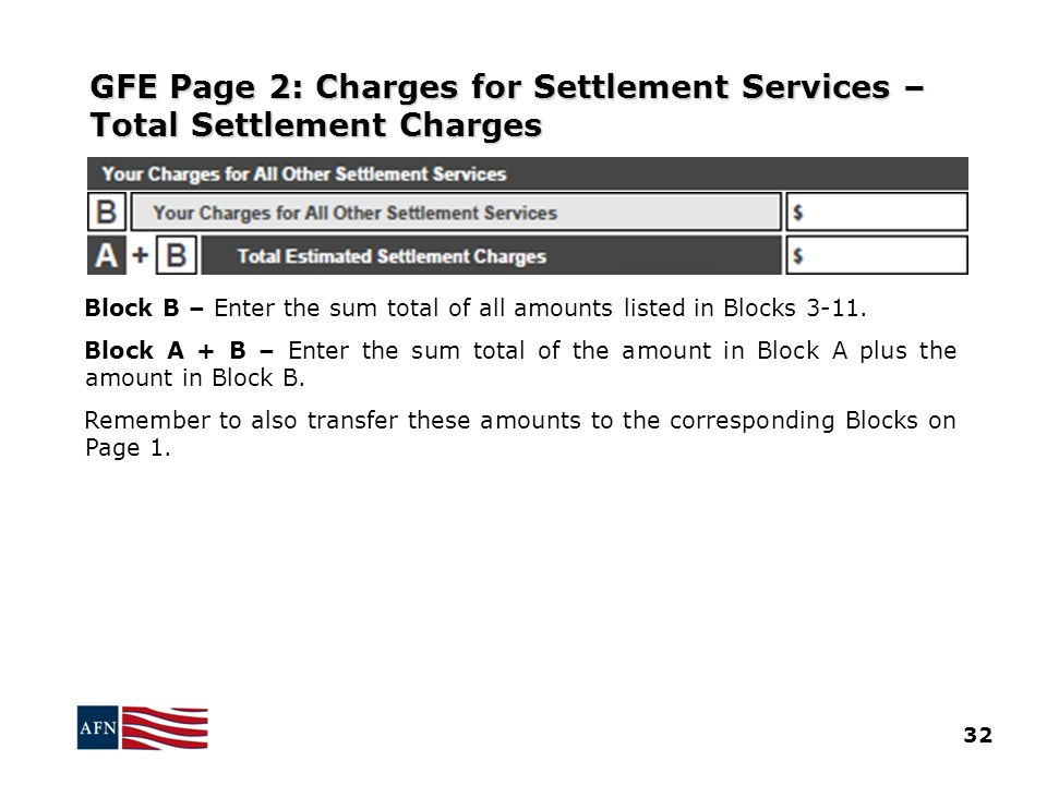 GFE Page 2: Charges for Settlement Services – Total Settlement Charges