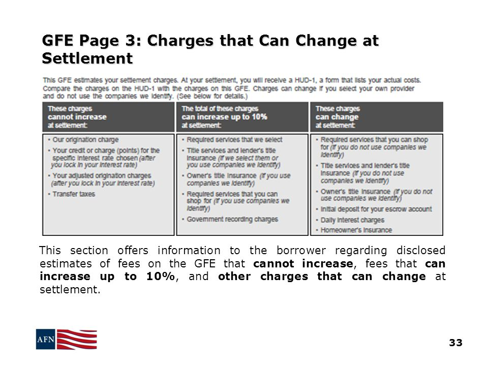 GFE Page 3: Charges that Can Change at Settlement