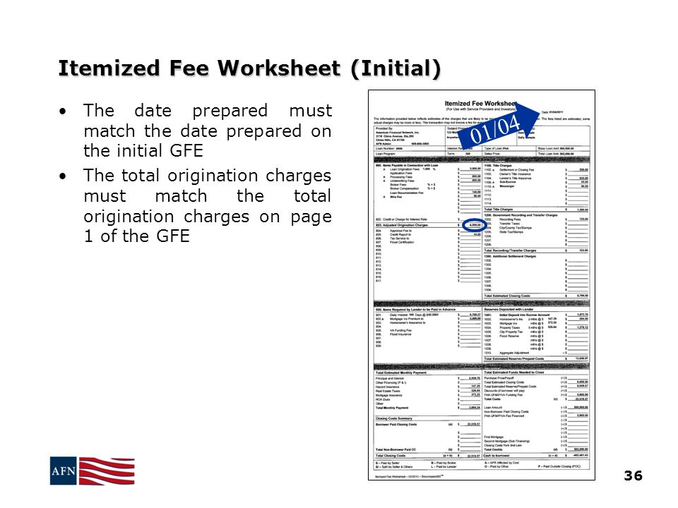 Itemized Fee Worksheet (Initial)