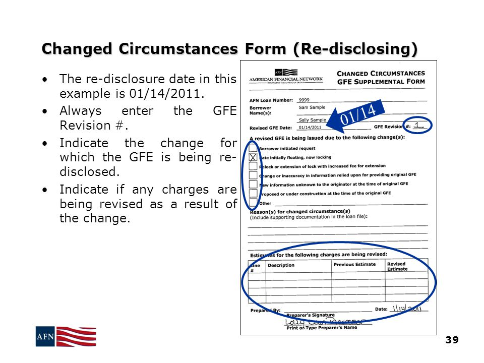 Changed Circumstances Form (Re-disclosing)