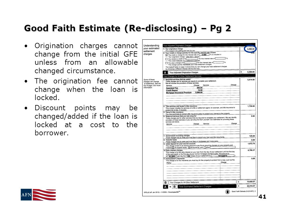 Good Faith Estimate (Re-disclosing) – Pg 2