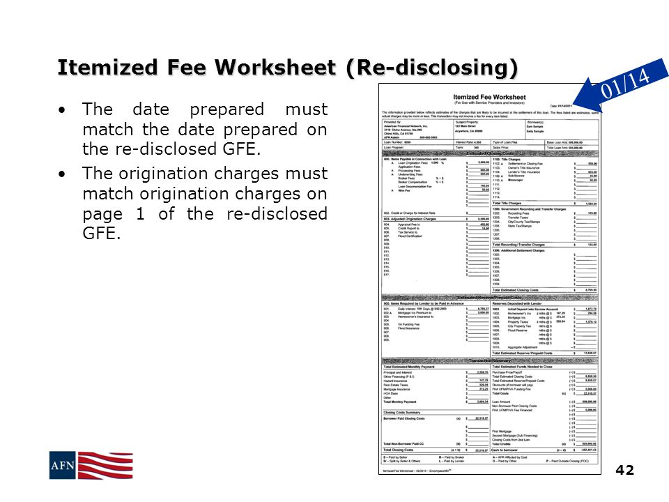 Itemized Fee Worksheet (Re-disclosing)