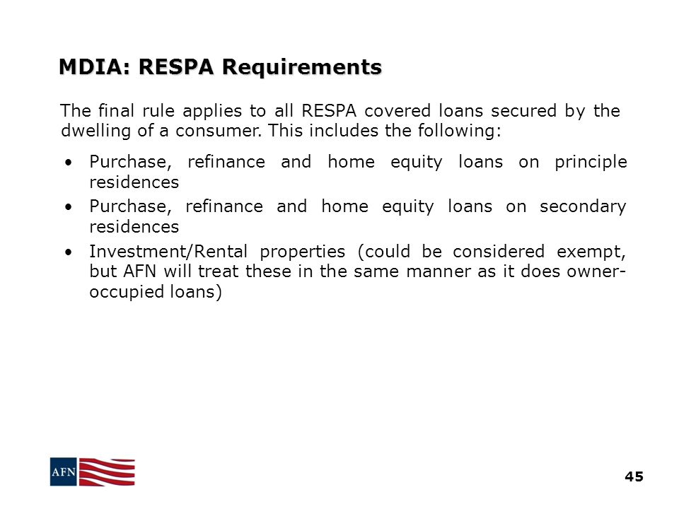 MDIA: RESPA Requirements