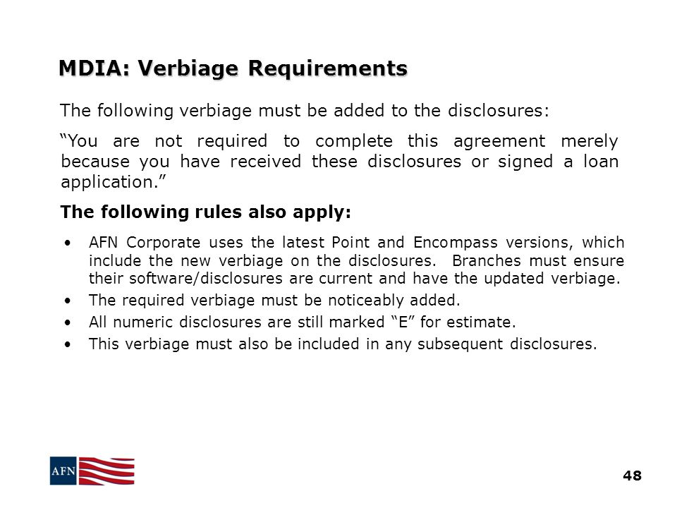 MDIA: Verbiage Requirements