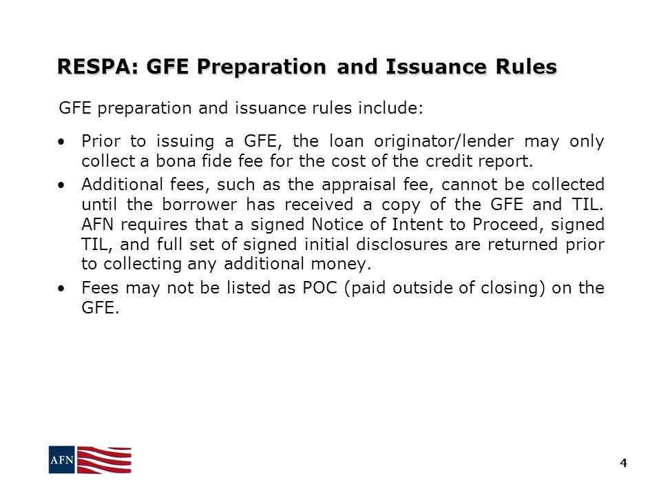 RESPA: GFE Preparation and Issuance Rules