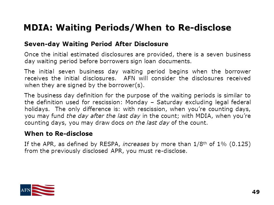 MDIA: Waiting Periods/When to Re-disclose