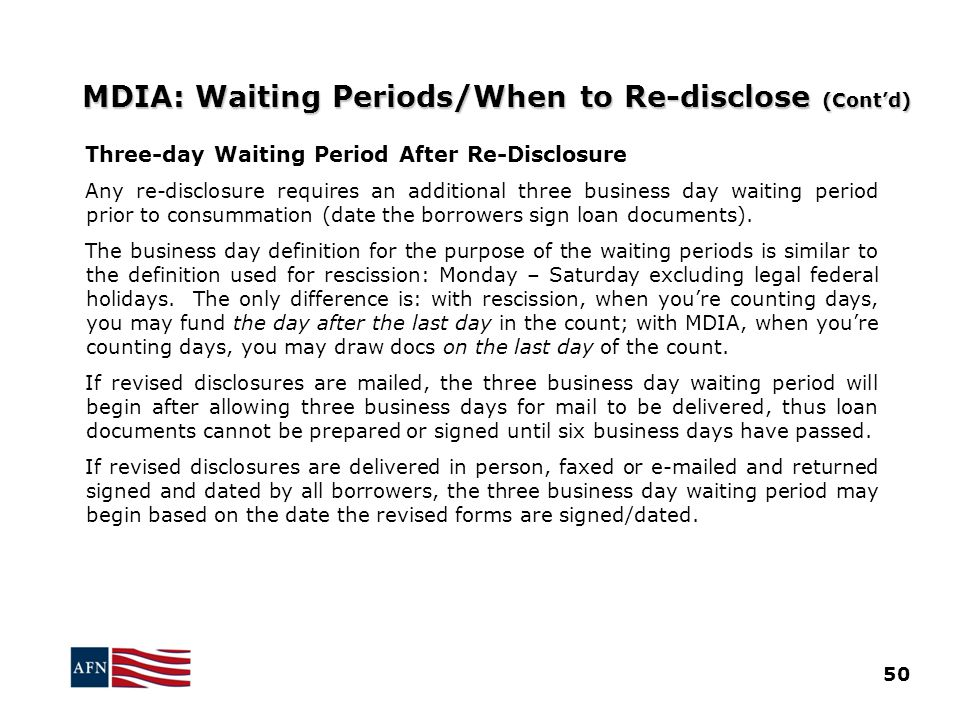 MDIA: Waiting Periods/When to Re-disclose (Cont'd)