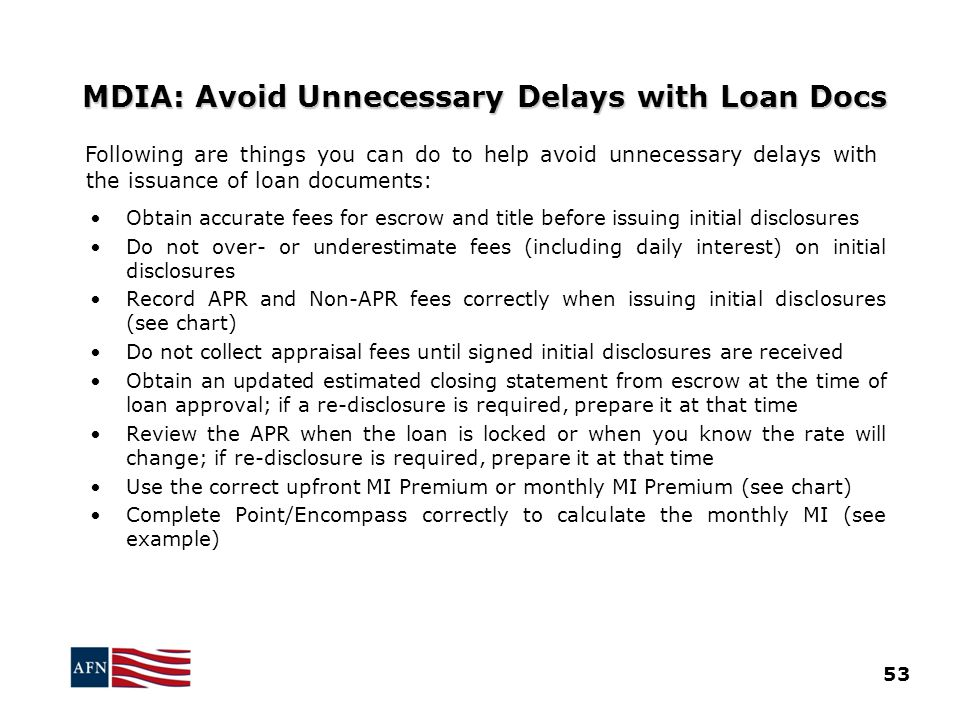 MDIA: Avoid Unnecessary Delays with Loan Docs