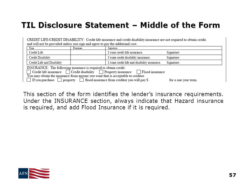 TIL Disclosure Statement – Middle of the Form