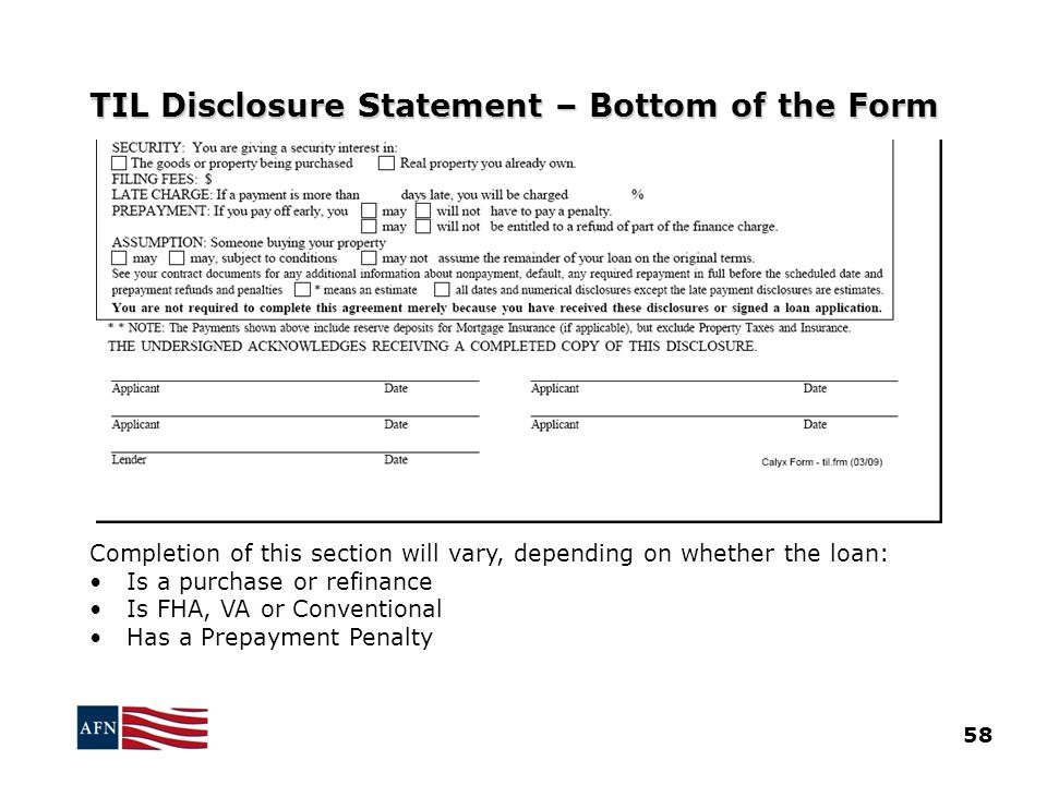 TIL Disclosure Statement – Bottom of the Form