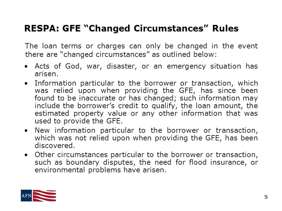 RESPA: GFE Changed Circumstances Rules