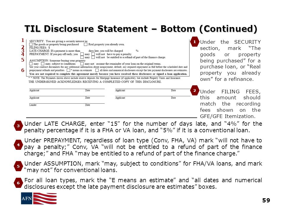 TIL Disclosure Statement – Bottom (Continued)