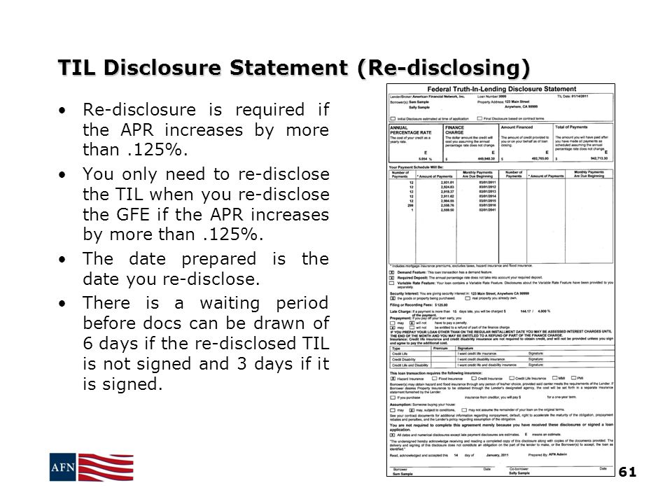 TIL Disclosure Statement (Re-disclosing)