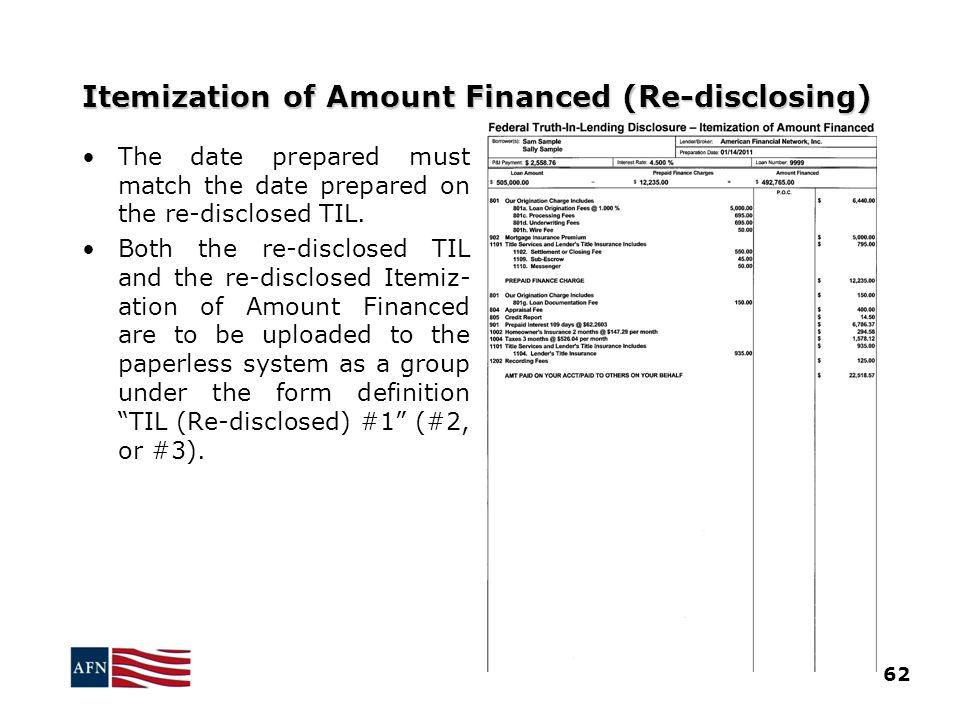Itemization of Amount Financed (Re-disclosing)