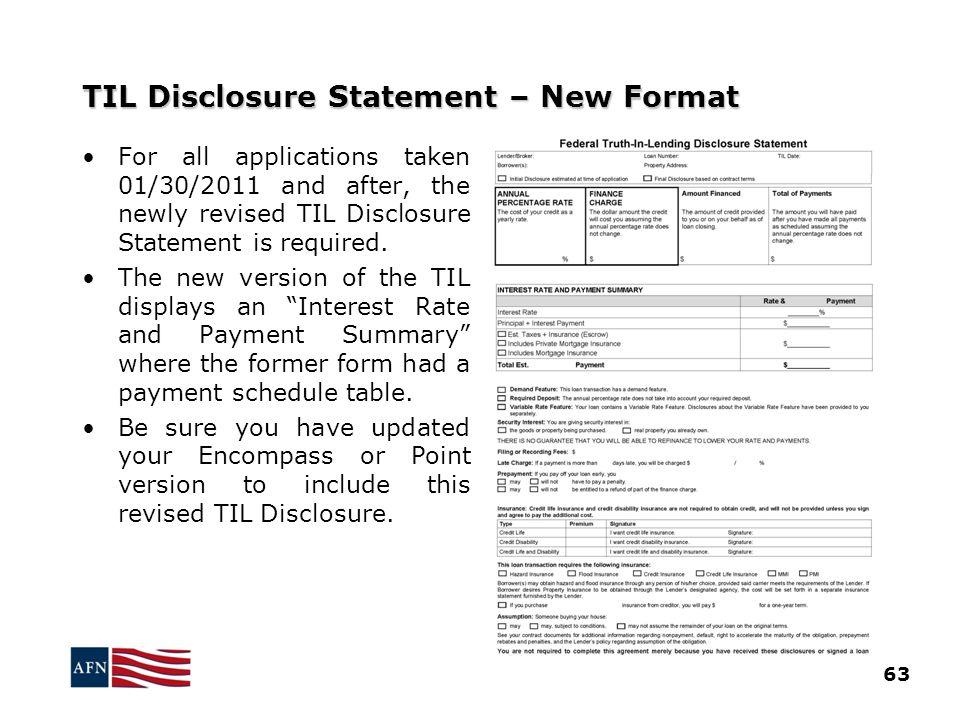 TIL Disclosure Statement – New Format