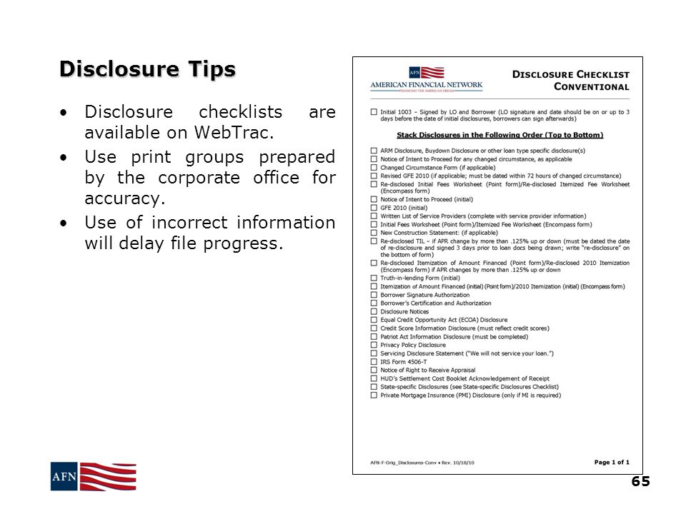 Disclosure Tips Disclosure checklists are available on WebTrac.