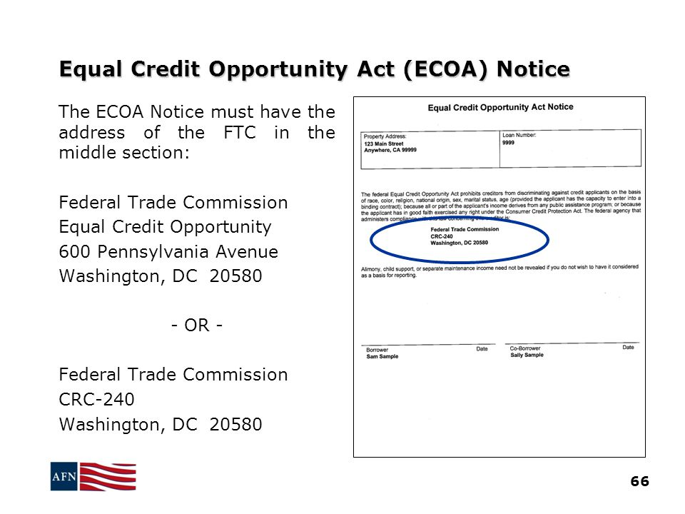Equal Credit Opportunity Act (ECOA) Notice