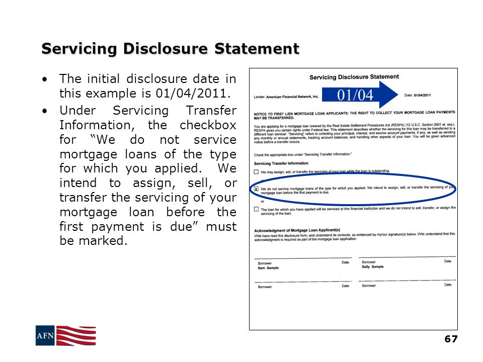 Servicing Disclosure Statement