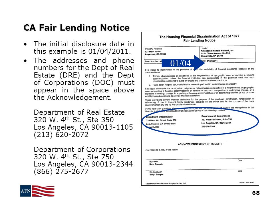 01/04 CA Fair Lending Notice