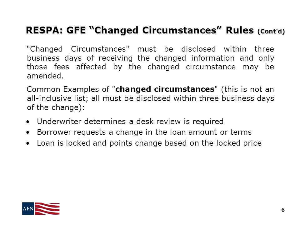 RESPA: GFE Changed Circumstances Rules (Cont'd)