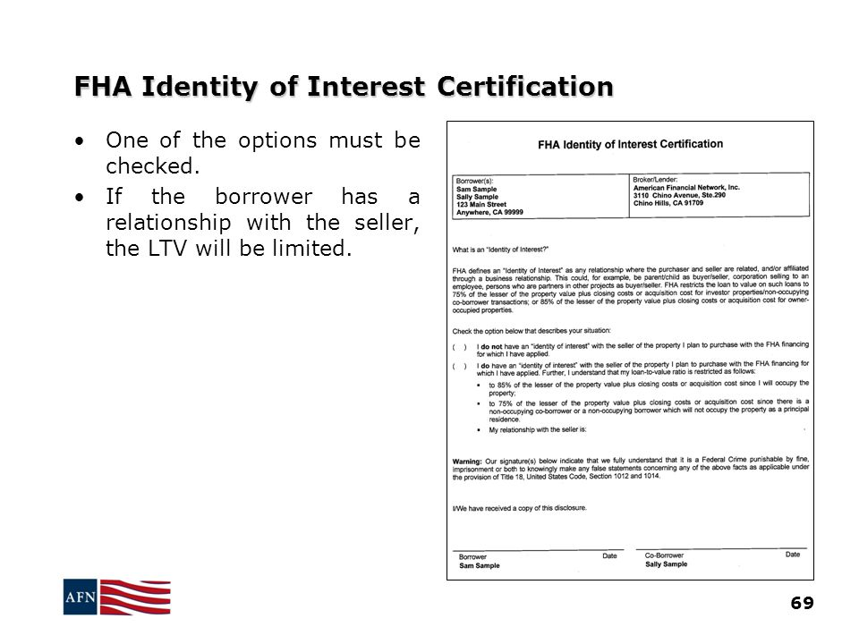 FHA Identity of Interest Certification