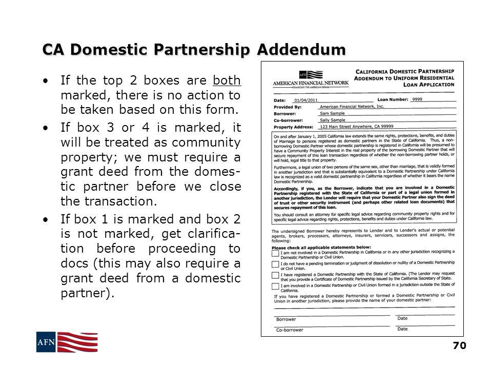 CA Domestic Partnership Addendum