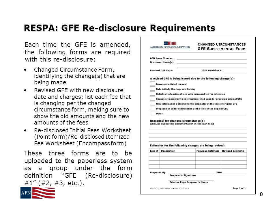 RESPA: GFE Re-disclosure Requirements