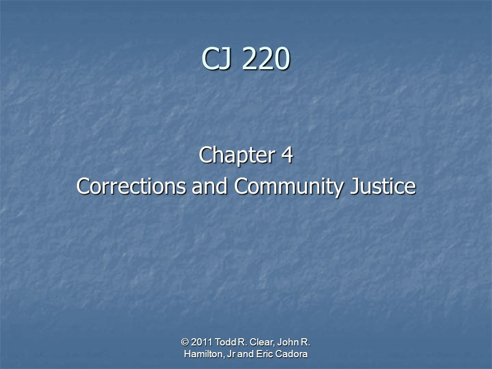 CJ 220 Chapter 4 Corrections and Community Justice