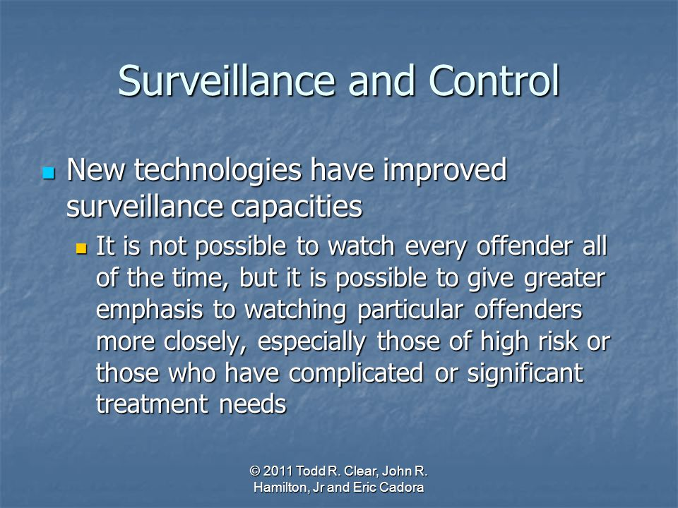 Surveillance and Control