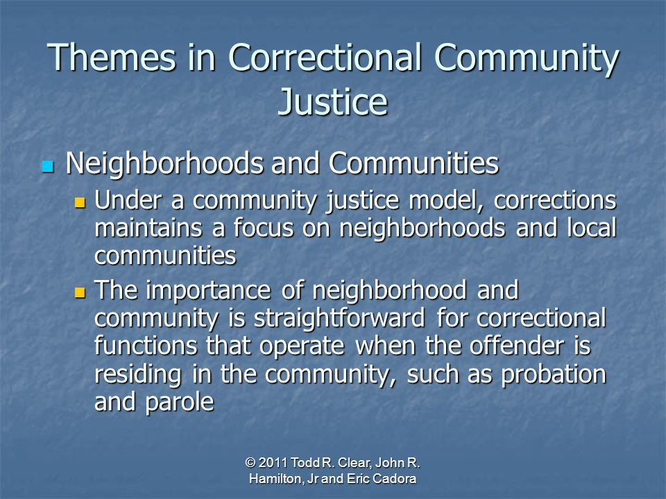Themes in Correctional Community Justice