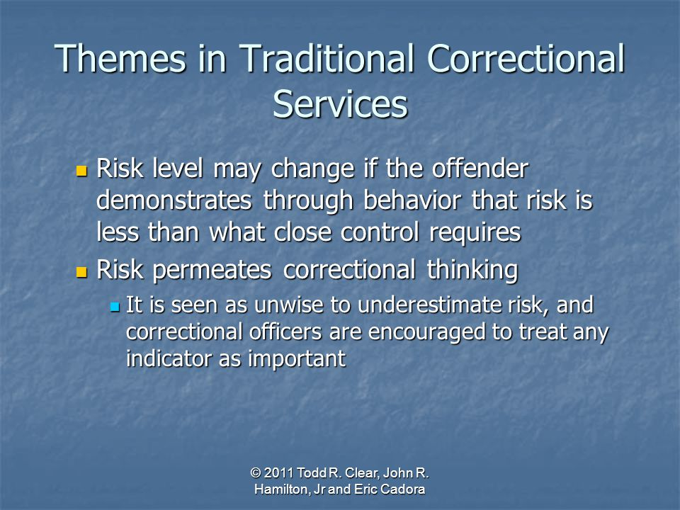 Themes in Traditional Correctional Services