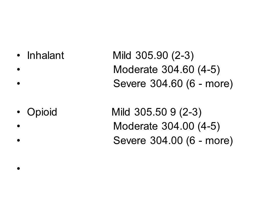 Inhalant Mild 305.90 (2-3) Moderate 304.60 (4-5) Severe 304.60 (6 - more) Opioid Mild 305.50 9 (2-3)