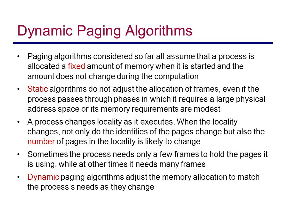 Dynamic Paging Algorithms