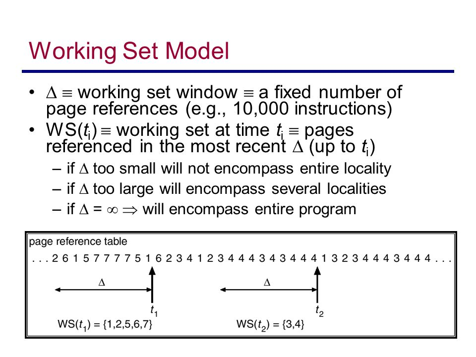 Working Set Model   working set window  a fixed number of page references (e.g., 10,000 instructions)