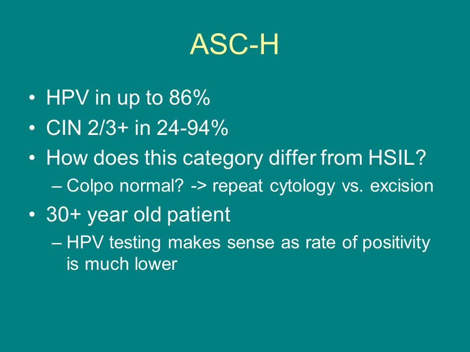 ASC-H HPV in up to 86% CIN 2/3+ in 24-94%