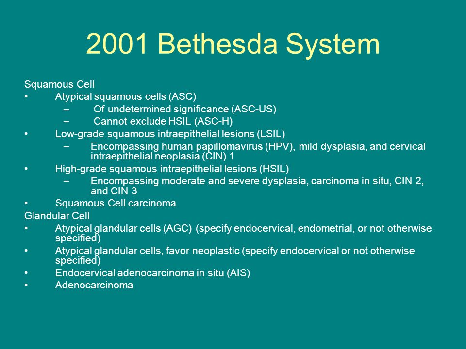 2001 Bethesda System Squamous Cell Atypical squamous cells (ASC)