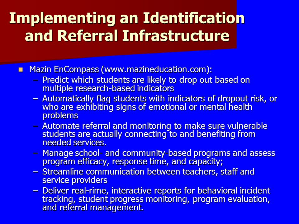 Implementing an Identification and Referral Infrastructure